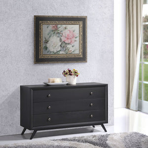 Tracy Mid-Century Modern Wood Dresser in Black