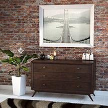 Tracy Mid-Century Modern Wood Dresser in Cappuccino