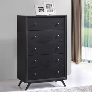 Tracy Mid-Century Chest of Drawers in Black