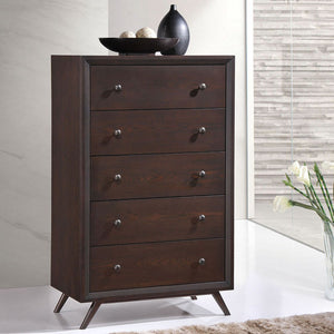 Tracy Mid-Century Chest of Drawers in Cappuccino