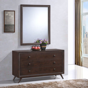 Tracy Mid-Century Dresser and Mirror Set in Cappuccino