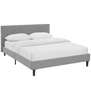 Linnea Queen Size Platform Bed in Light Gray