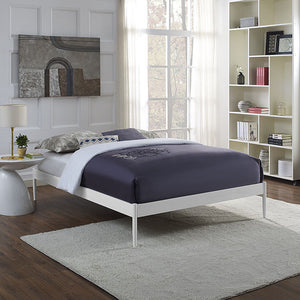 Elsie Full Steel Bed Frame in White