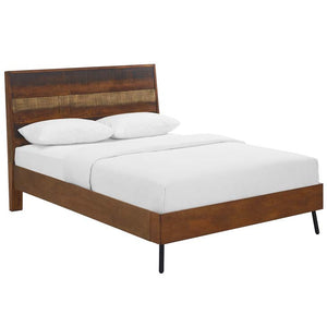 Arwen Rustic Wood Queen Bed in Walnut Finish