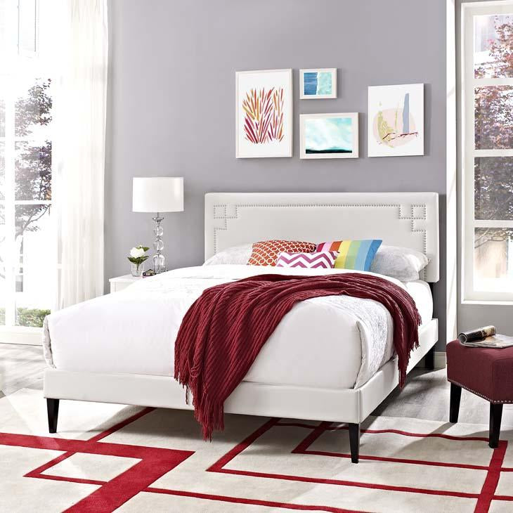 Ruthie Full Vinyl Platform Bed with Square Tapered Legs
