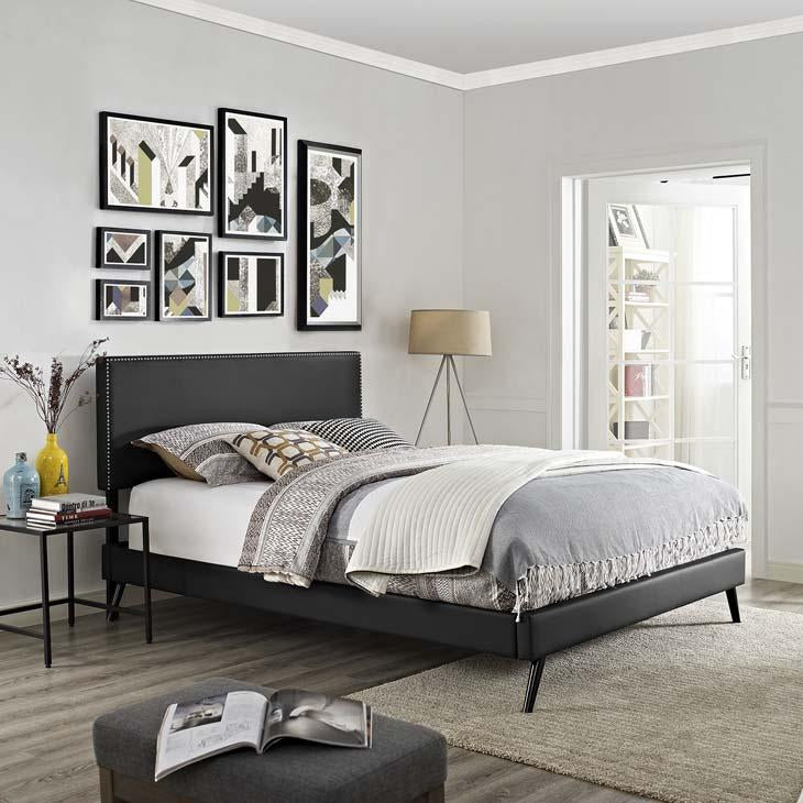 Macie Full Vinyl Platform Bed with Round Splayed Legs