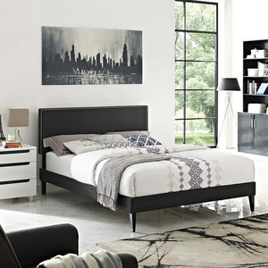 Macie Full Vinyl Platform Bed with Square Tapered Legs - taylor ray decor