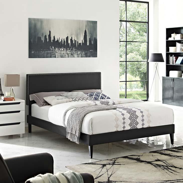 Macie Full Vinyl Platform Bed with Square Tapered Legs