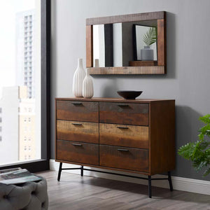 Arwen Rustic Wood Frame Mirror & Dresser in Walnut Finish