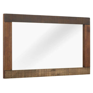 Arwen Rustic Wood Frame Mirror in Walnut Finish