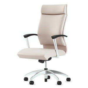 CS2 Leather Executive Conference Chair with Black urethane arm pads (optional aluminum base shown)