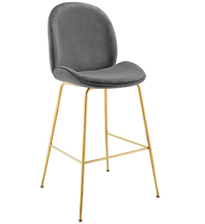 Scoop Gold Stainless Steel Leg Performance Velvet Bar Stool in Gray
