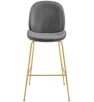 Scoop Gold Stainless Steel Leg Performance Velvet Bar Stool - taylor ray decor