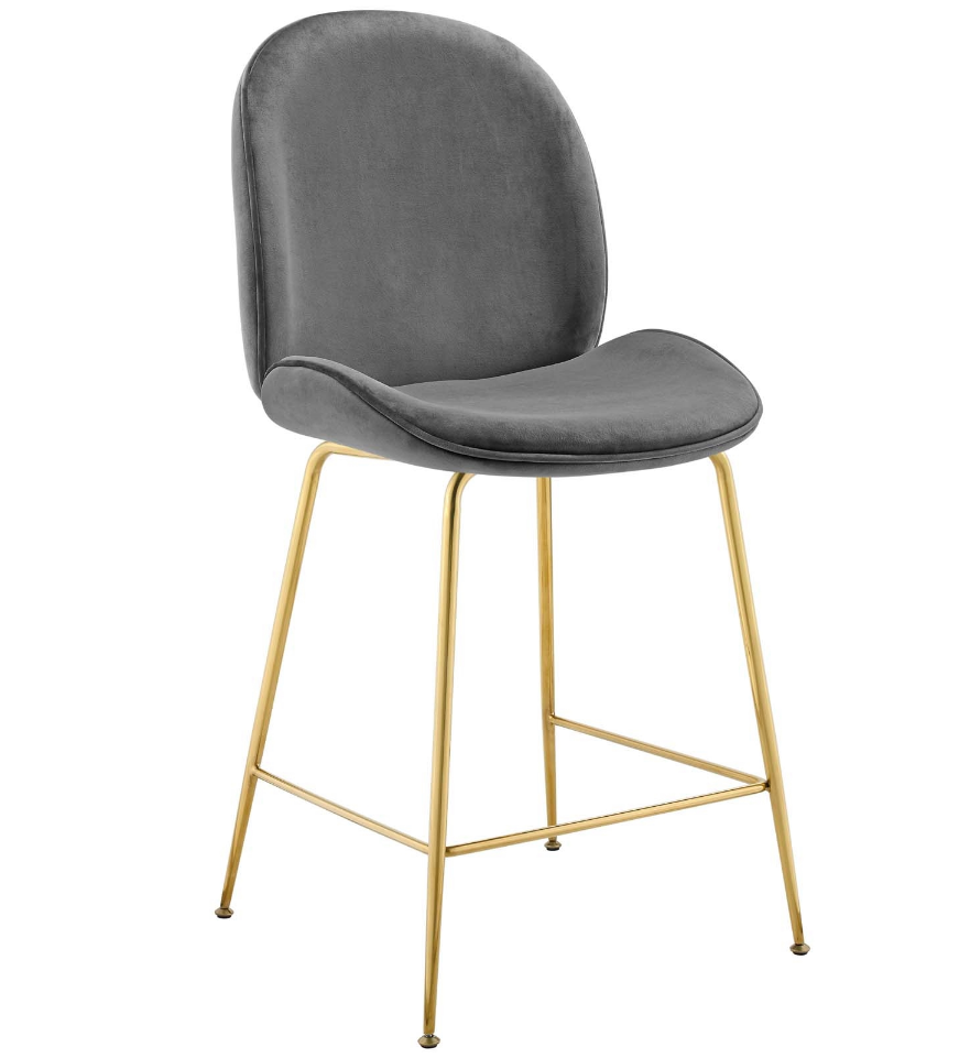 Scoop Gold Stainless Steel Leg Performance Velvet Counter Stool in Gray