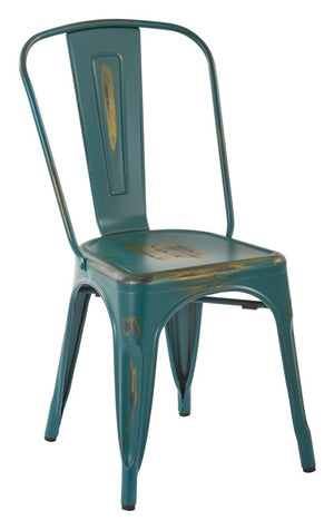 Bristow Armless Metal Dining Chair in Antique Tourquoise