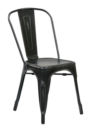 Bristow Armless Metal Dining Chair in Antique Black