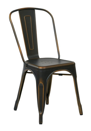 Bristow Armless Metal Dining Chair in Antique Copper