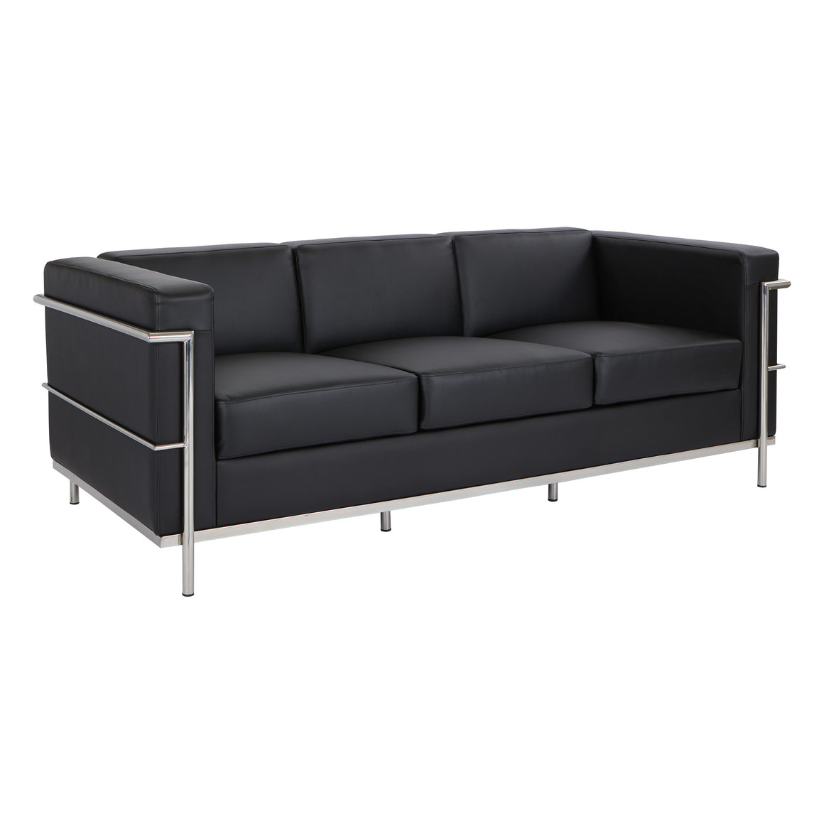 Bonded Leather Modern Sofa in Black