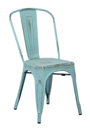 Bristow Armless Metal Dining Chair in Antique Sky Blue