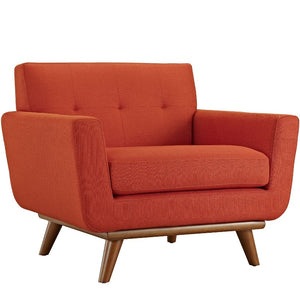 Engage Mid-Century Modern Fabric Armchair in Atomic Red