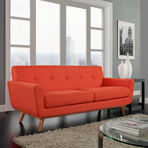 Engage Mid-Century Modern Fabric Loveseat in Atomic Red