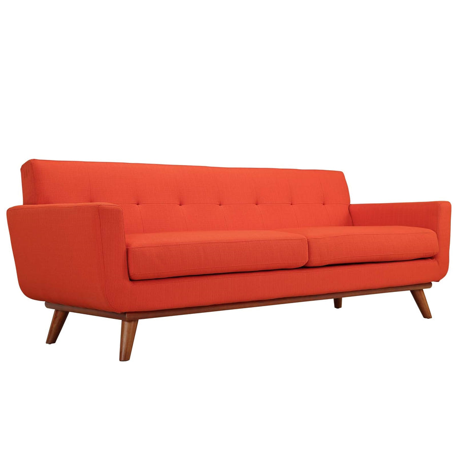 Engage Mid-Century Modern Fabric Sofa in Atomic Red