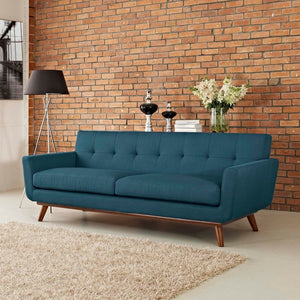 Engage Mid-Century Modern Fabric Sofa in Azure