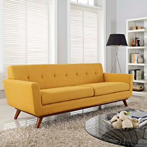 Engage Mid-Century Modern Fabric Sofa in Citrus