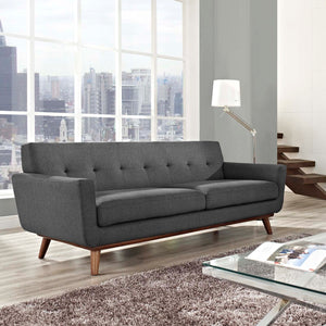 Engage Mid-Century Modern Fabric Sofa in Gray