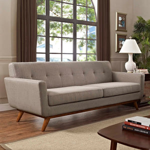 Engage Mid-Century Modern Fabric Sofa in Granite