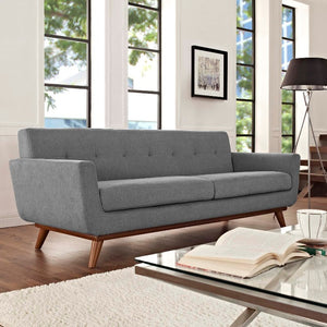Engage Mid-Century Modern Fabric Sofa in Expectation Gray