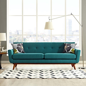 Engage Mid-Century Modern Fabric Sofa in Teal