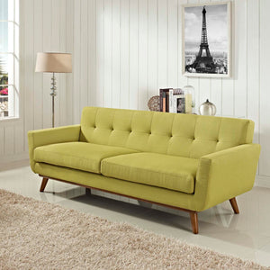 Engage Mid-Century Modern Fabric Sofa in Wheatgrass