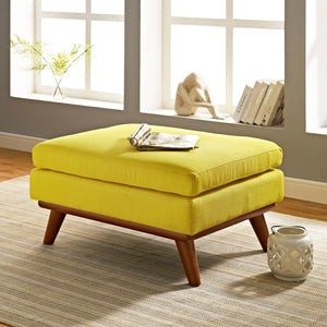 Engage Mid-Century Modern Fabric Ottoman in Sunny