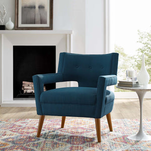 Sheer Mid-Century Modern Fabric Armchair in Azure