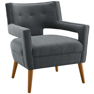 Sheer Mid-Century Modern Fabric Armchair in Gray
