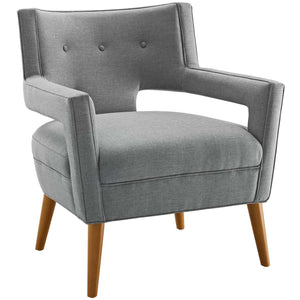 Sheer Mid-Century Modern Fabric Armchair in Light Gray