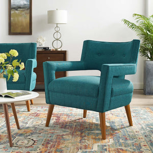Sheer Mid-Century Modern Fabric Armchair in Teal