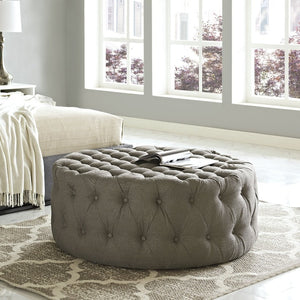 Amour Tufted Fabric Ottoman in Granite