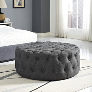 Amour Tufted Fabric Ottoman in Gray