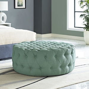 Amour Tufted Fabric Ottoman in Laguna