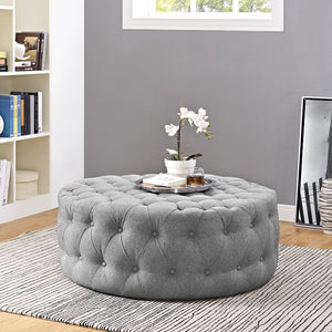 Amour Tufted Fabric Ottoman in Light Gray