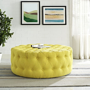 Amour Tufted Fabric Ottoman in Sunny