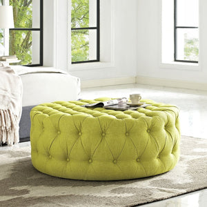 Amour Tufted Fabric Ottoman in Wheatgrass
