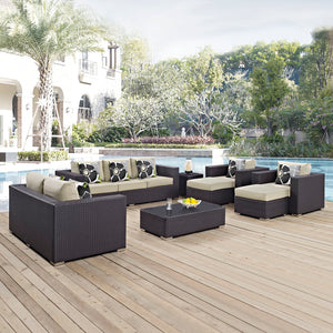 Convene 9 Piece Outdoor Patio Sofa Set in Espresso Beige