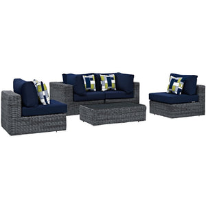 Summon 5 Piece Outdoor Patio Sunbrella Lounge Set - taylor ray decor