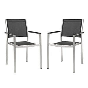 Shore Outdoor Patio Mesh Dining Armchair / Set of 2 in Black