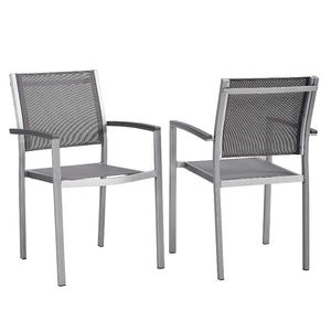 Shore Outdoor Patio Mesh Dining Armchair / Set of 2 in Gray