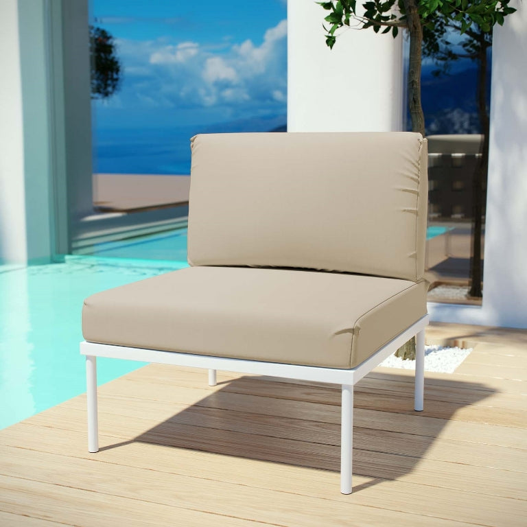 Harmony Armless Outdoor Patio Aluminum Lounge Chair in Beige