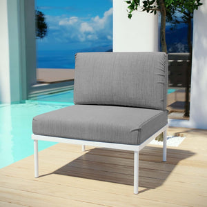 Harmony Armless Outdoor Patio Aluminum Lounge Chair in Gray